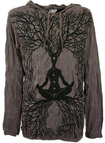 GURU-SHOP, Camisa Manga Larga Sure, Camisa con Capucha Meditación Chakra Buddha, Marrón Topo, Algodón, Tamaño:XL, Camisetas Seguras
