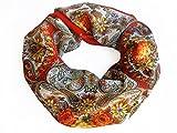 Foulard russe châle ANGELIKA 100% laine, orange, 125*125cm, frange soie, motif floral de luxe …