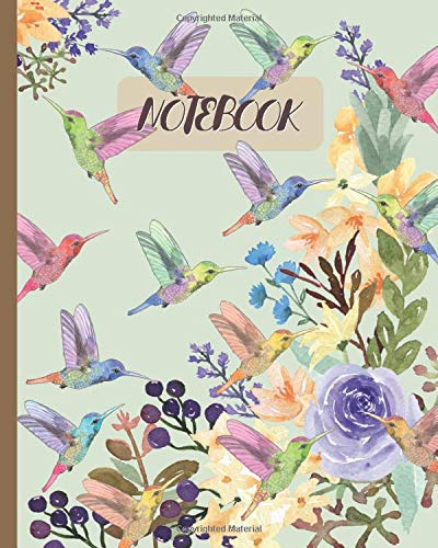 Notebook: Hummingbirds & Florals Watercolor - Lined Notebook, Diary, Track, Log & Journal - Cute Gift for Girls, Teens, Women (8