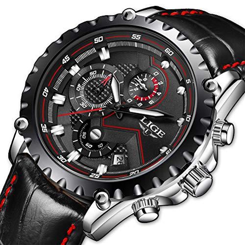 orologio da uomo,lige cronografo impermeabile sportivo militari analogico al quarzo orologi cinturino in pelle quadrante nero data calendario business casual lusso orologi da polso