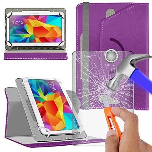 """Preisvergleich Produktbild N4U Online - Various Buntglas Schutzhülle & Rotierend PU Leder Schutzhülle für MEDION 8"""" HD LIFETAB P8311 Tablette - Lila"""