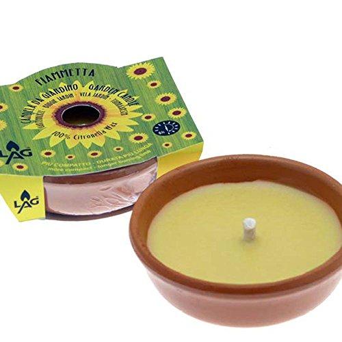 Citronella Kerze in Terracotta Schale, Brenndauer 5h , Ø 11,5 cm, Gartenkerze zur Mückenabwehr Duftkerze Anti-Mücken-Kerzen Duftlichter Zitrone Outdoor Garten