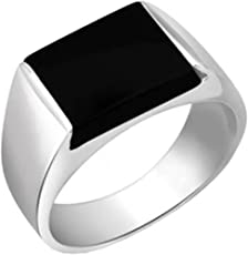 Peora Sterling Silver Rhodium Plated Rectangle Black Onyx Solitaire Wedding Men's Ring PR1044