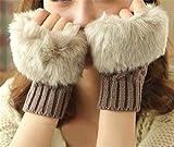 Bold N Elegant Faux Rabbit Hair Fur Wool Knitted Winter Thermal Warm Comfortable Fingerless Gloves Mittens Winter Accessories Hand Warmer Gloves