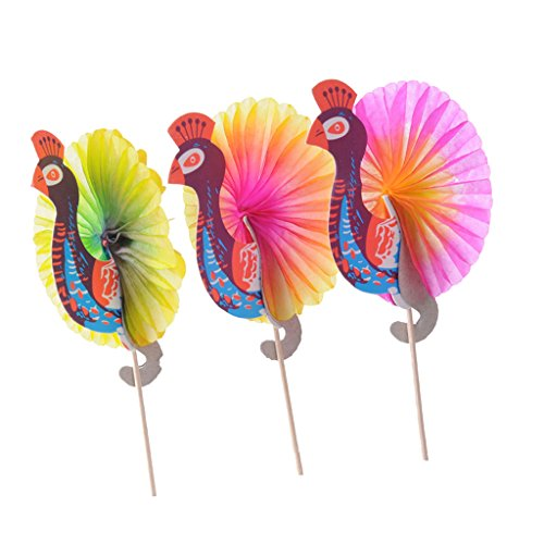 Homyl 25/144er Pack Cocktail-Schirmchen Hawaii Sonnenschirm Regenschirm Picks - Pfau, 25pcs/Set