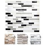 Grandora 4er Set 27 x 25,4 cm Fliesenaufkleber schwarz metallic weiß Silber Design 3 I 3D Mosaik Küche Bad Fliesendekor Wandaufkleber Fliesensticker W5534