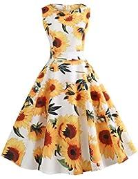 Vestido sin mangas para mujer Retro, Saihui 30s 40s 50s 60s Vintage Audrey Hepburn con