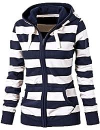 FANTIGO Damen Gestreift Hoodie Reißverschluss Langärmelige Kapuzenpullover  Sweatshirt e0134d1312