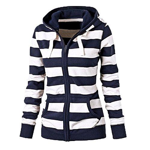 Dames gestreept Hoodie ritssluiting langärmelige sweatshirt - blauw, maat: XXX-large