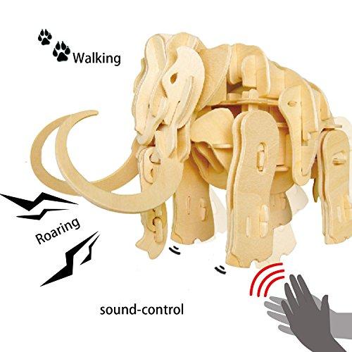 ROBOTIME 3D Holz Puzzle Bausatz - Tonsteuerung Modell Modellbau - Gehen und Brüllen - Geschenk für Geburtstag Weihnachten für Kinder und Erwachsene (3d-modelle)