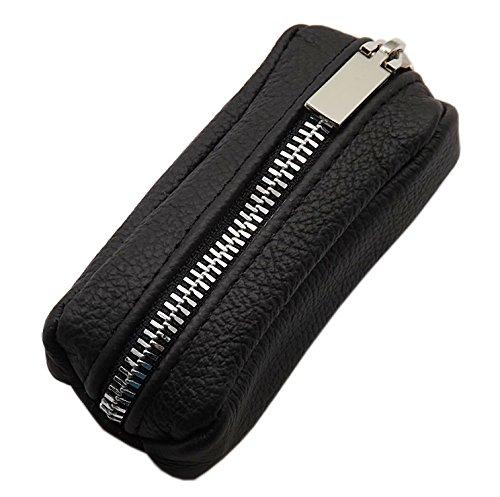 Cuero Estuches de llave 1 compartimento Made en UE en negro en varios diseños (Diseño 1 / Metallo-Cremallera)