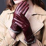 Butterme Womens Touchscreen Texting Driving Winter Warm Lammfell Leder Handschuhe Fahren im Freien Fleece Futter (Lila Rot)