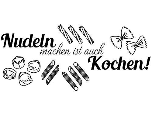 Wandtattoo-bilder® Wandtattoo Nudeln machen ist auch Kochen Nr 1 Küchen Wandsprüche Wandsticker Wandaufkleber Farbe Schwarz, Größe 80x35 - Machen Nudeln