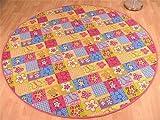 Kinder Spiel Teppich Pink Bunt Rosa Patchwork Rund in 7 Größen