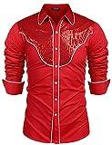 Unibelle Herren Hemd Männer Rosa Langarmhemd Trendigen Western-Style Herrenhemd