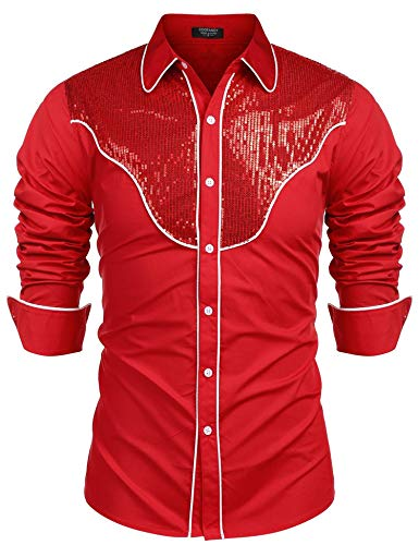 Unibelle Herren Hemd Rot Langarmhemd mit Kontrastpaspel-Besatz Westernhemd Rot -