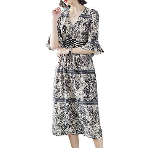 A-linie Rock Slim (GQJQWE Sommer V-Ausschnitt gedruckt Chiffon-Kleid Damen Trompete Ärmel A-Linie Rock Temperament Slim Blütenblatt Ärmel locker lässigen Rock)