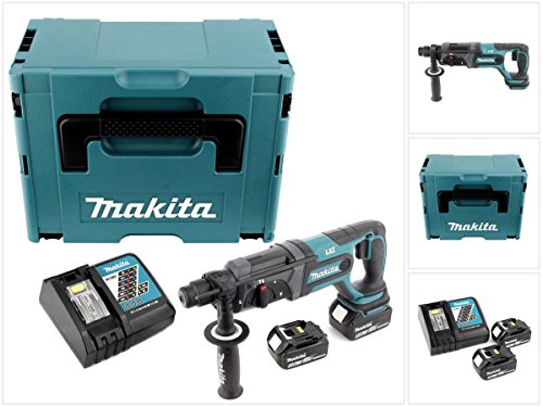 Makita DHR 241 18 V Li-ion Akku Bohrhammer mit SDS-Plus Aufnahme im Makpac + 2x BL 1850 5,0 Ah Akku + DC 18 RC Schnellladegerät