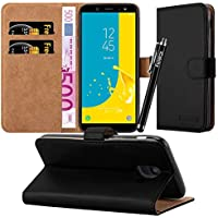 For Galaxy J6 Case - Wallet Book [Stand View] Card Case Cover Premium Leather Folio Case for Samsung Galaxy J6 2018 with Screen Protector, Microfibre Polishing Cloth and Touch Stylus Pen (Black)