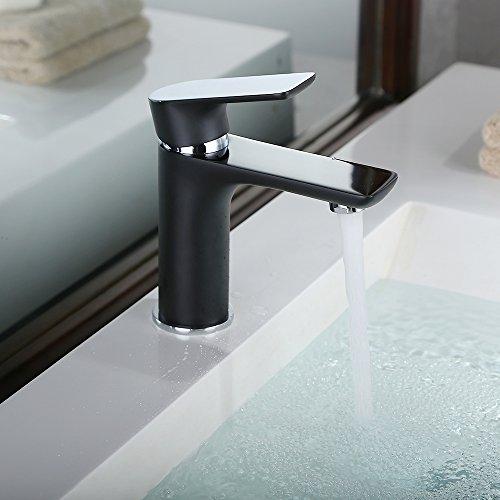 Homelody – Waschtisch-Einhebelmischer, ohne Ablaufgarnitur, Luftsprudler, Keramikkartusche, Schwarz - 2