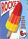 Rocket Ice Lolly Retro Old Vintage Advertising, Kitchen, Grocery, Cafe, Parlour & Decrorative Large Metal/Steel Wall Sign