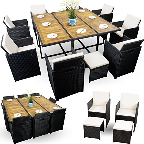 Sitzgruppe Polyrattan Würfelsystem Gartenmöbel Set XXXL 8+4+1 schwarz 26-tlg.