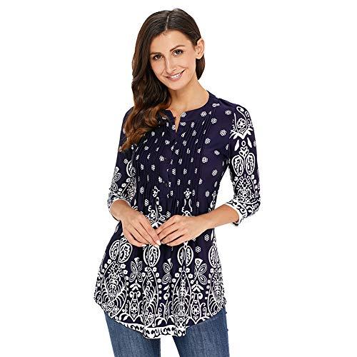 Damen Langarmshirt 3/4 Arm Bluse Vintage Blumenmuster Oberteile Rundhals Tops, Dunkelblau,  XL