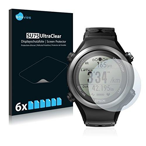 6x Savvies SU75 UltraClear Bildschirmschutz Schutzfolie für Epson Runsense SF-810 (ultraklar, mühelosanzubringen)