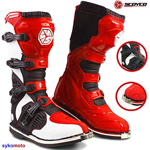 SCOYCO MBM001 Exclusively ON SYKOMOTO Motocross Stiefel Off Road Quad Enduro Kart Trials Racing Boots ROT (EU 39)