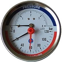 "Dial de 80mm 0-120C 0-10 BAR Leer entrada manómetro de temperatura 1/2 ""BSP Thermomanometer"