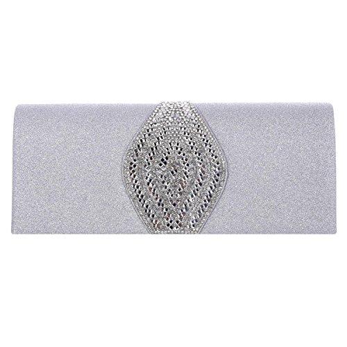 Damara® Adlige Damen Gleißend Abend Handtaschen Mit Strassstein Silber
