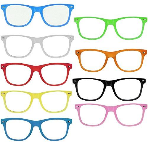 Nerd Clear OG NERD-BRILLEN 10 STÜCK ohne Gläser Party-Brille Spaß-Brille Geek-Brille Pantobrille...