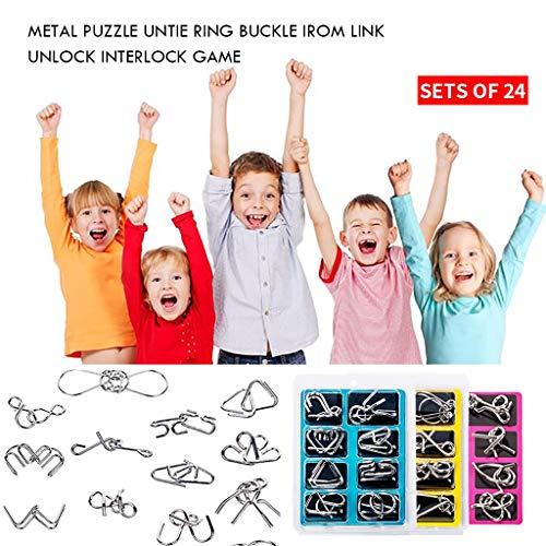 Baslinze Metalldraht Puzzle Set von 24, Gehirn Teaser IQ Test Eisen Link Entsperren Interlock Spiel Chinesischen Ring Zaubertrick Spielzeug für Parteibevorzugung Kinder Erwachsene Herausforderung