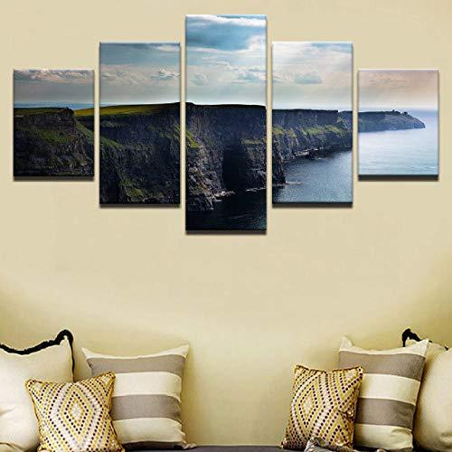 WODES Leinwand Malerei Wandkunst Hd-Druck Dekoration 5 Stücke Blauer Himmel Ozean Cliff Poster Natur Landschaft Bild Kein Rahmen 30 * 40 * 2 30 * 60 * 2 30 * 80Cm