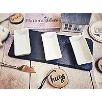 Platters Slate Hermosa bandeja de pizarra con tres cuencos rectangulares de 30 x 12 cm, seguro para alimentos/casa de advertencia, boda, cumpleaños, regalo de Navidad