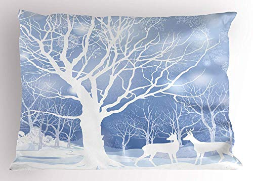 Rghkjlp Winter Kissen Sham, Abstract Winter Imagery with Snowy Weather Deer and Other Animals Seasonal Theme, Decorative Standard King Size Printed Kissencase, 20 X 30 Inches, - King-size-polyester-kissen-sham