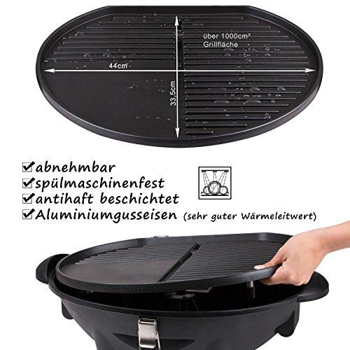 TZS First Austria – elektrischer Standgrill in 3 min heiß, Kugelgrill, Tischgrill, Standgrill mit Deckel, Ablagefläche, elektro outdoor Grill mit Haube Elektrogrill mit Standfuss | klappbar mit