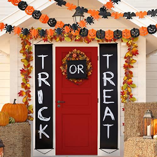 Blulu-Halloween-Dcoration-Set-Trick-Or-Treat-Halloween-Bannire-pour-la-Maison-Intrieure-Extrieure-Dcorations-dhalloween-avec-Guirlandes-de-Papier-Halloween-Citrouille-Araignes-Bat-Forme