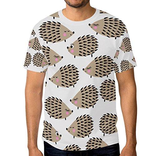 ALAZA Hombre Lindo Erizo de Manga Corta Camiseta Casual de Cuello Medio Multi