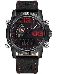 NAVIFORCE 9095 (Black Red) Men's Sports Waterproof Leather Strap Good Quality Week Quartz LED Watch
