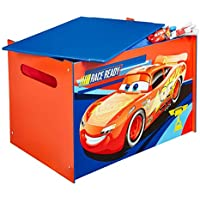 Disney Cars Kids Toy Box - Childrens Bedroom Storage Chest with Bench Lid by HelloHome