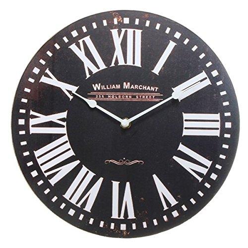 Antik Weiß Deckenventilator (EsportsMJJ Round Wooden Wall Clock Vintage Retro Antik Stil)