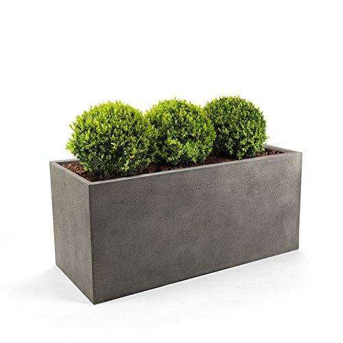 "Pflanzkasten ""Lite Balcony Box"" Grau Rechteckig Fiberglas *5 Jahre Garantie* - 20x60x20cm - F199"