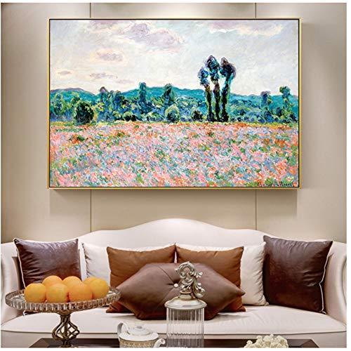 Pinturas campo amapolas pared Claude Monet Arte pared
