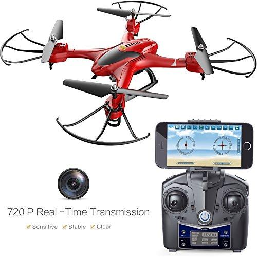 Holy Stone HS200FPV RC drone con telecamera HD wifi Live Feed 2.4GHz 4CH giroscopio a assi Quadcopter con altitudine Hold, sensore di gravità e Headless modalità RTF elicottero, colore rosso