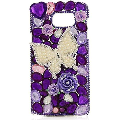 Evtech (tm) Perlas de la mariposa floral púrpura Decoración Flor del amor del corazón Diamante Forma del reloj del teléfono celular de la manera del brillo del estilo de Transparencia de la contraportada del Rhinestone del diamante de Bling Bling para Samsung Galaxy S6 Edge Plus Samsung Galaxy S6 Edge + (100% Artesanal)