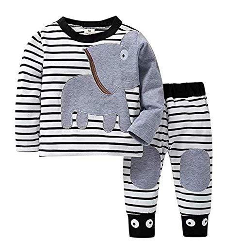 Elefanten Pj (Baby-Mädchen-Säuglingsbaumwollpyjamas Stellen Elefant gestreiften Druck-Lange Hülsen-T-Stück und Hosen 2PC EIN Herbst-Winter PJ stellt 0-18M EIN (90, Weiß))