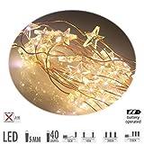 LS Design Micro 40 LED Stern Lichterkette Drahtlichterkette Leuchtdraht warmweiss - 1 Strang - Batterie