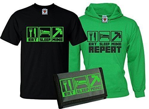 """Bullshirt t-shirt e felpa con cappuccio per bambini, motivo: """"Eat Sleep Mine"""" con portafoglio incluso Black / Irish Green / Black 12-13 Anni"""