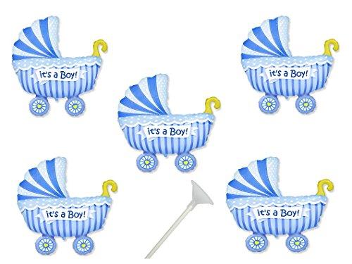 5 Folienballon mit Haltestab Baby Party Junge Baby Shower Luftballon Pullerparty